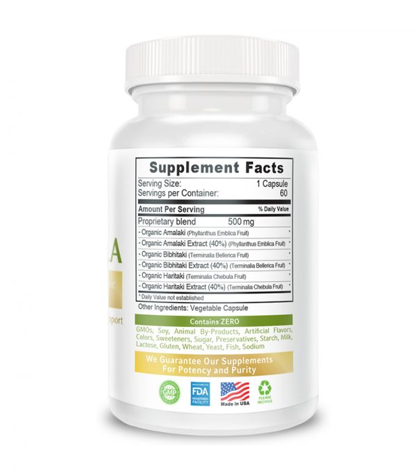 back triphala supplement facts