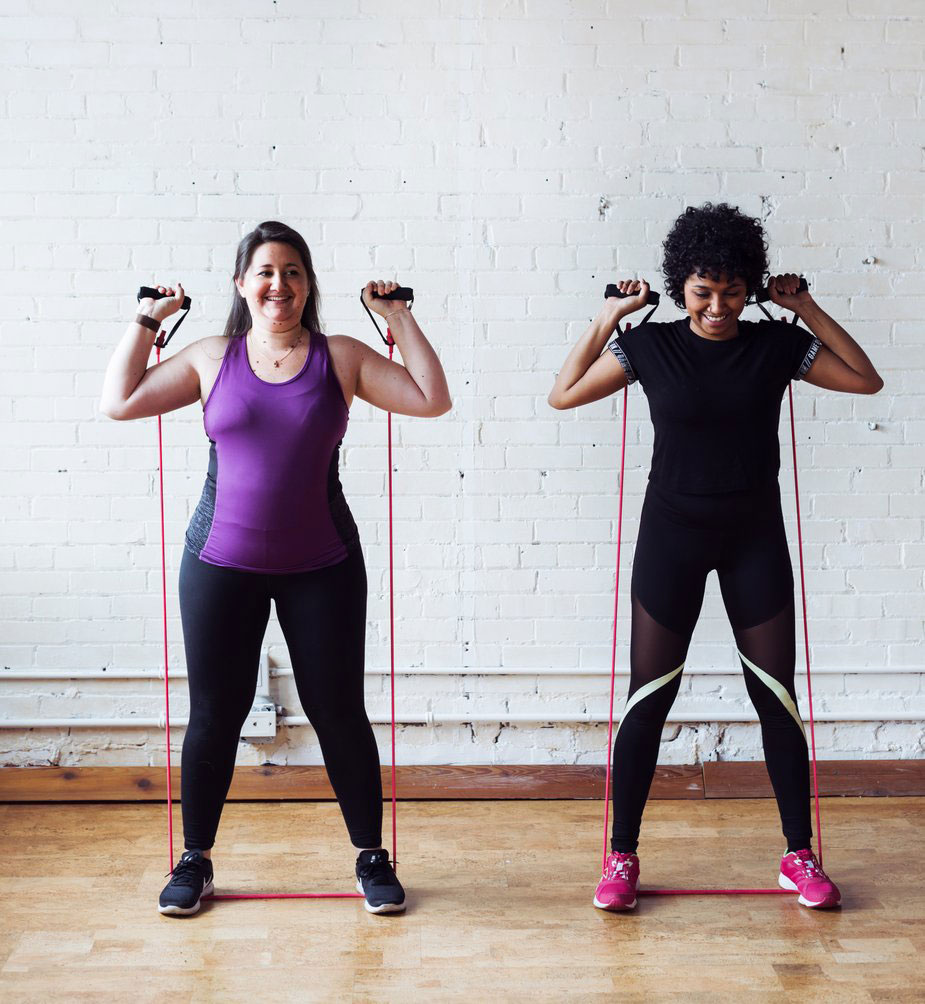 two females working out